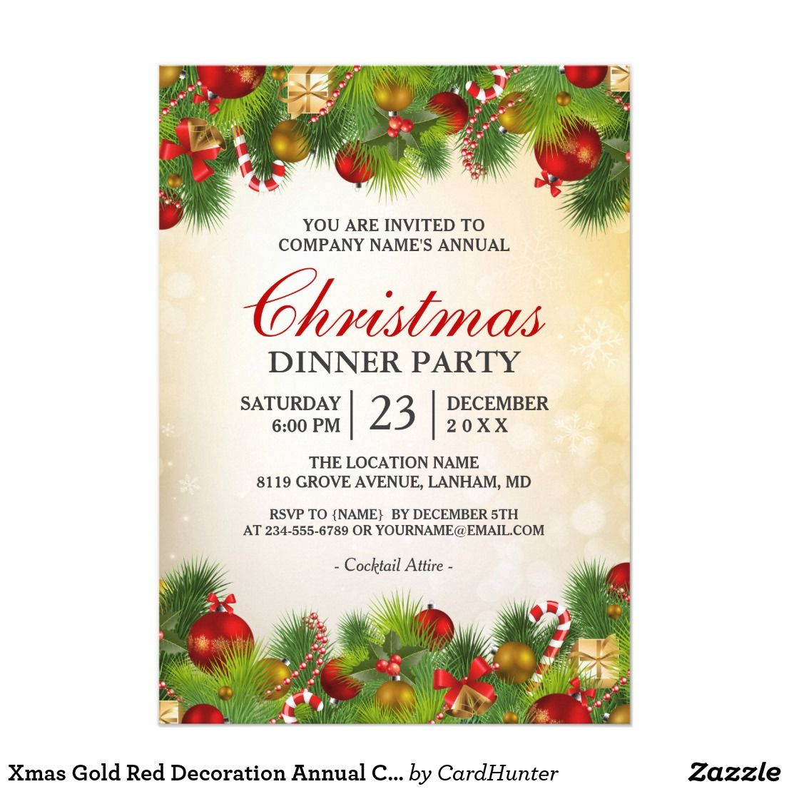 xmas gold red decoration annual christmas party invitation in 2018