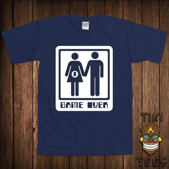 "Funny t-shirt /"" Gamover /"" Pregnant funny mens tshirt Gameover Mens joke tee"