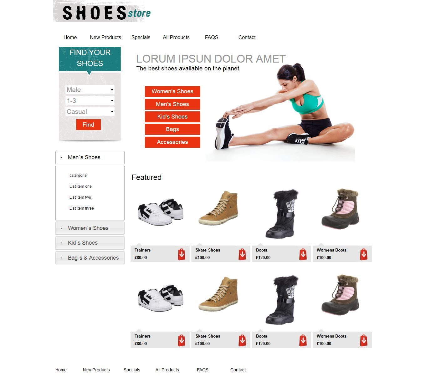 ShoeStore home page, website built from photoshop template ...