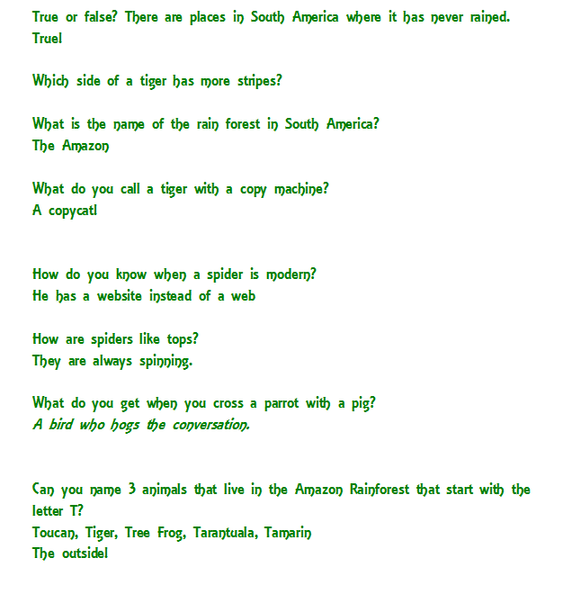 South America: This week's Jokes & Facts to print :)