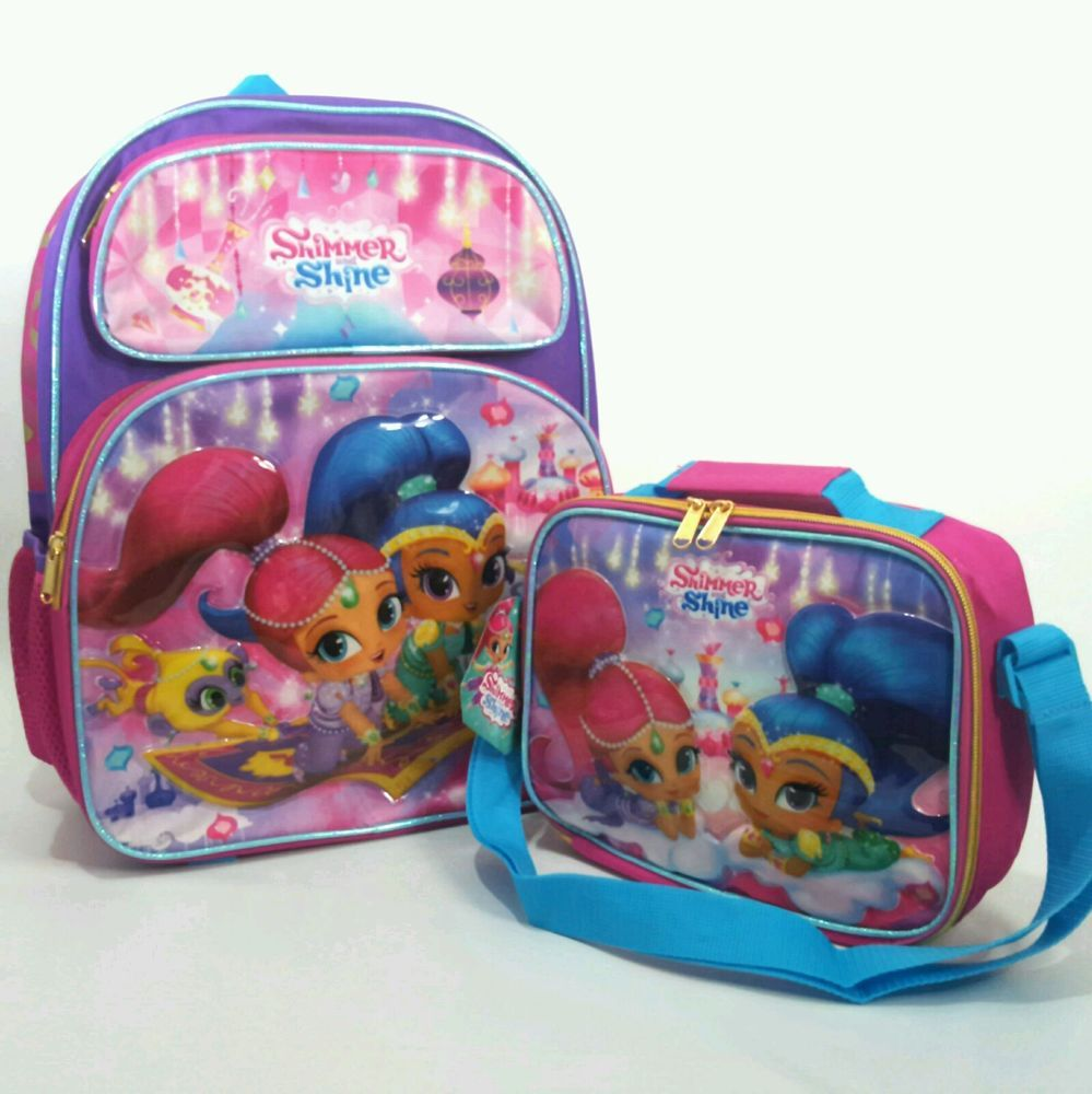 Shimmer and Shine Large School Backpack Lunch Bag Set Girls Book ...