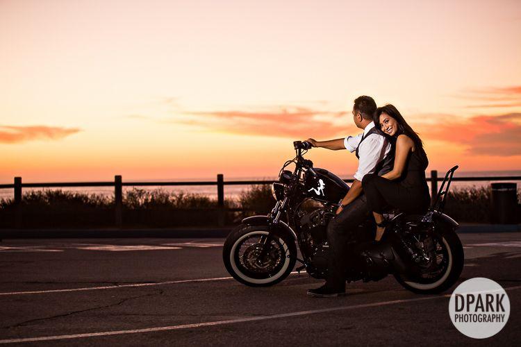 Redondo Beach Engagement Andree Jeremy Bike Photoshoot Motorcycle Wedding Motorcycle Engagement Photos