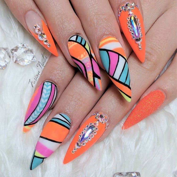 Abstract Neon Nail Art By Fusionnails