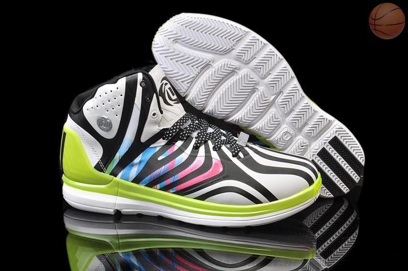 los angeles d1072 1f535 Adidas Adizero Rose 4.5 Blanc Noir Atomic Vert Chaussures