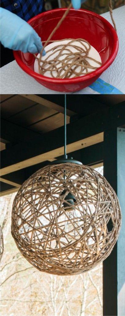 Lámpara con cuerda Decoración Pinterest Cuerda, Lampara cuerda - Lamparas Caseras