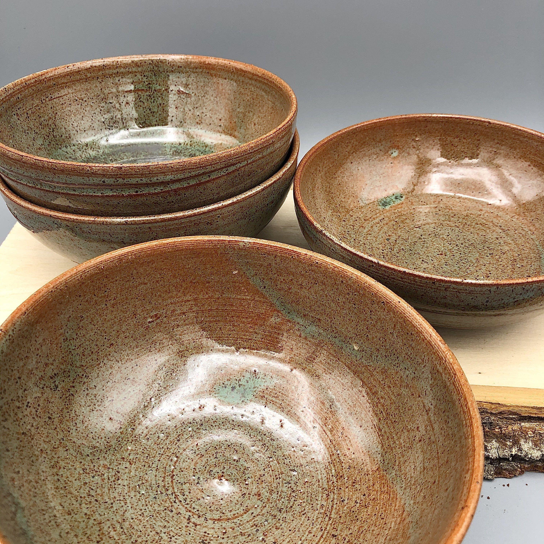 Set of Four Forest Green Ceramic Bowls #etsy #ceramic #ceramicbowl #wheelthrownbowls #greenbowls #dinnerbowls #handmadebowls #potterybowls #ceramics #ceramicset #ceramicdesign #pottery #potterybowl #potteryset #potterydesign #potteryart #kitchen #kitchenbowl #kitchenbowls #setofbowls #setoffour #bowlsforsale #bowl #subtleglaze #calmbowls