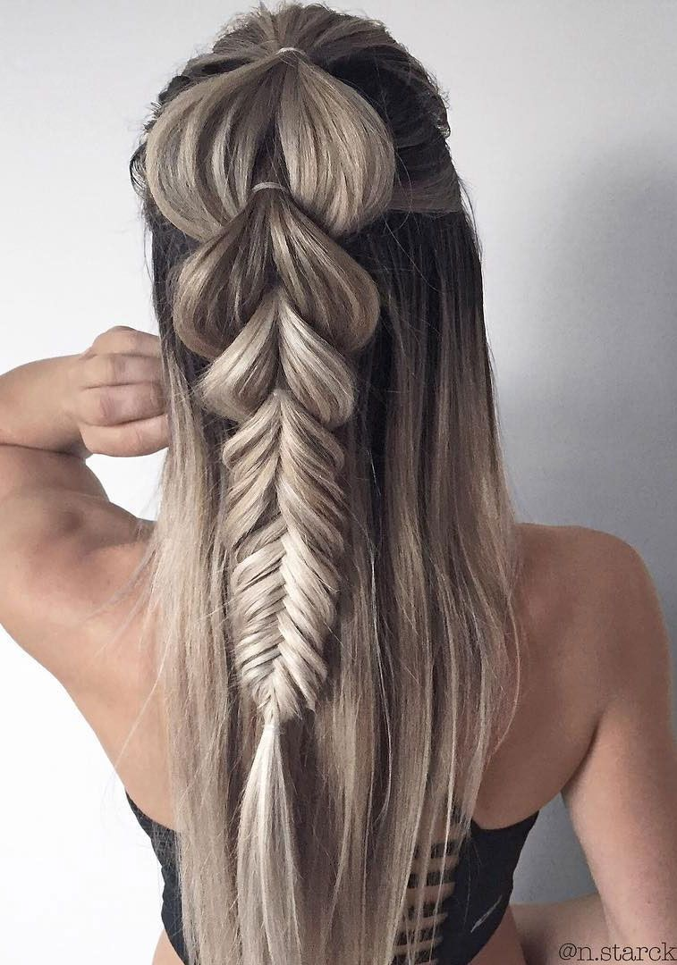 39 Trendy + Messy & Chic Braided Hairstyles – Pull through big braid
