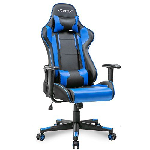Merax High Back Gaming Chair Ergonomic Design Office Chair Racing Style Computer Chair Blue And Black Gaming Chair Chair Ergonomics Furniture