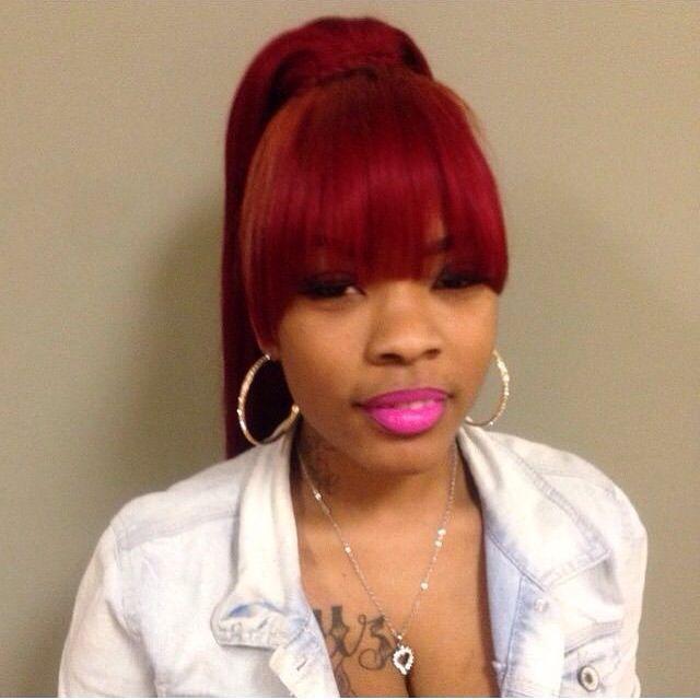 Red hair w/bangs ponytail - Weave Ponytail With Bangs - Google Search Hair Cutss