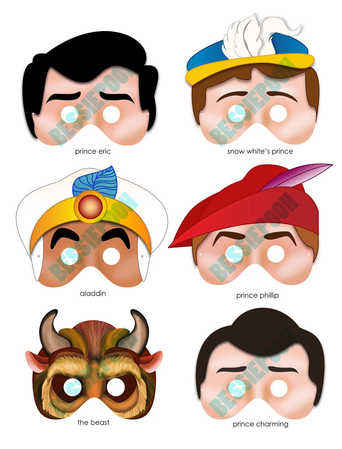 Disney Princess Party Printable Mask Collection Includes All 6 Prince Masks Photo Booth Prop
