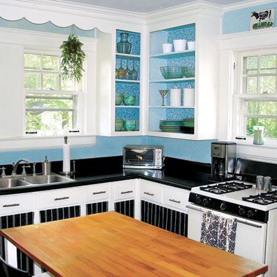 Small Old Kitchen Makeover a cheerful kitchen makeover for $935 | butcher block island top