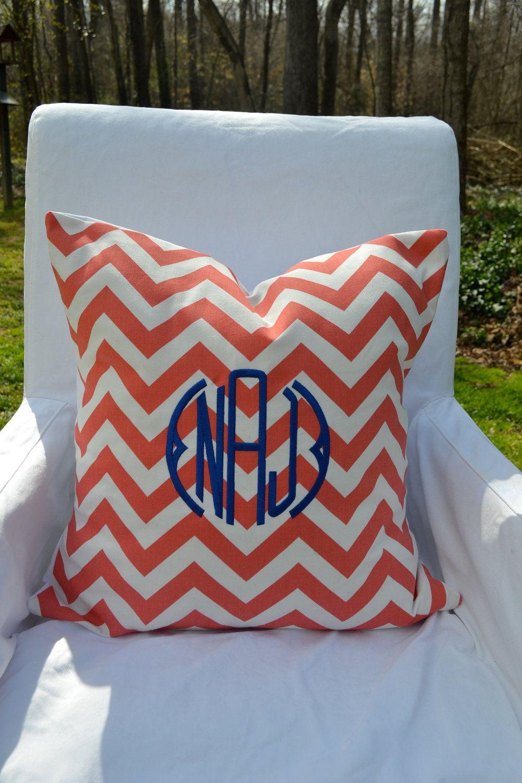 Monogrammed coral u white chevron throw pillow cover decor