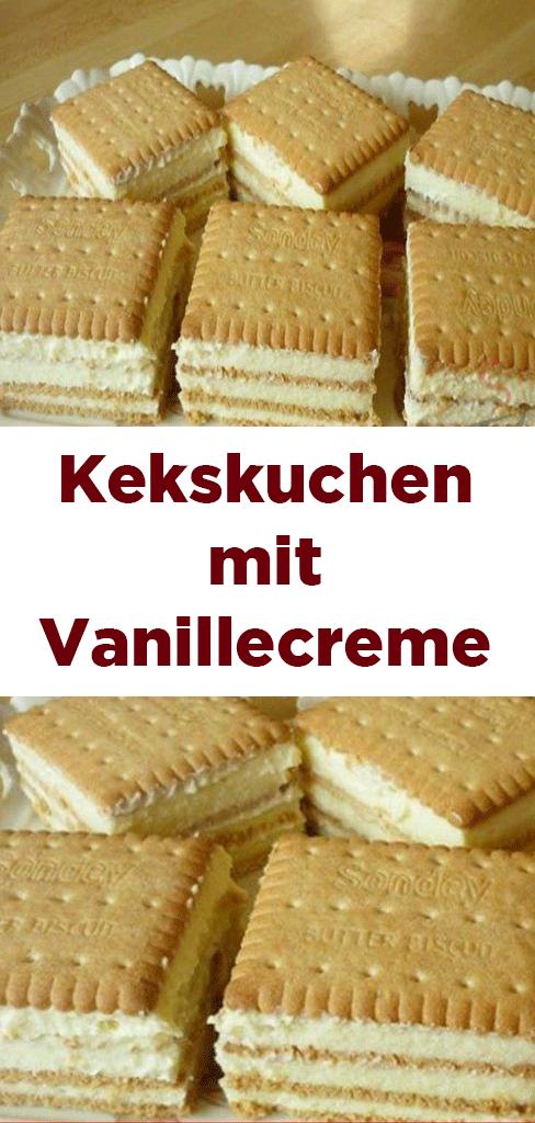 Kekskuchen mit Vanillecreme #kuchenkekse