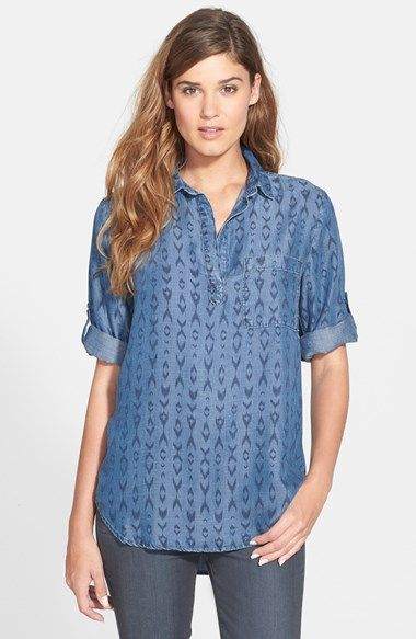 f2a543b5309 Free shipping and returns on Side Stitch Popover Tunic Shirt at Nordstrom.com.  A chambray shirt in an easy tunic cut exudes casual attitude with an open  ...