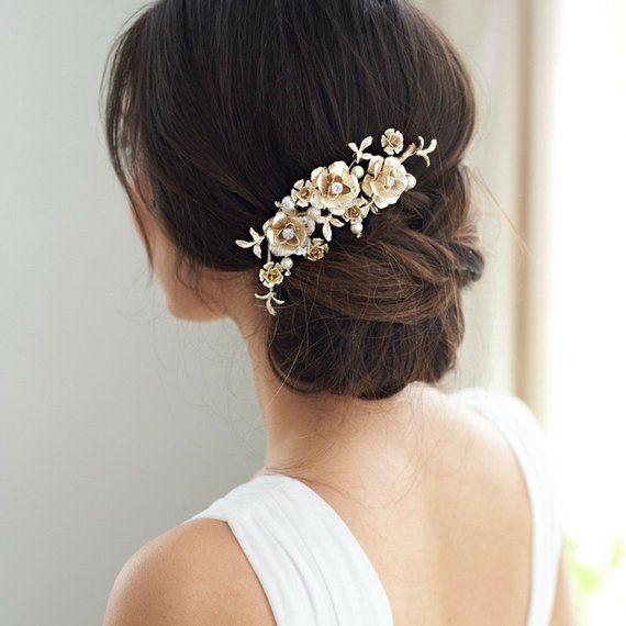 Floral Bridal Hair Clip, Pearl Hair Clip, Silver Wedding Hair Piece, Bridal Hair Accessory,Flower Br #brautblume