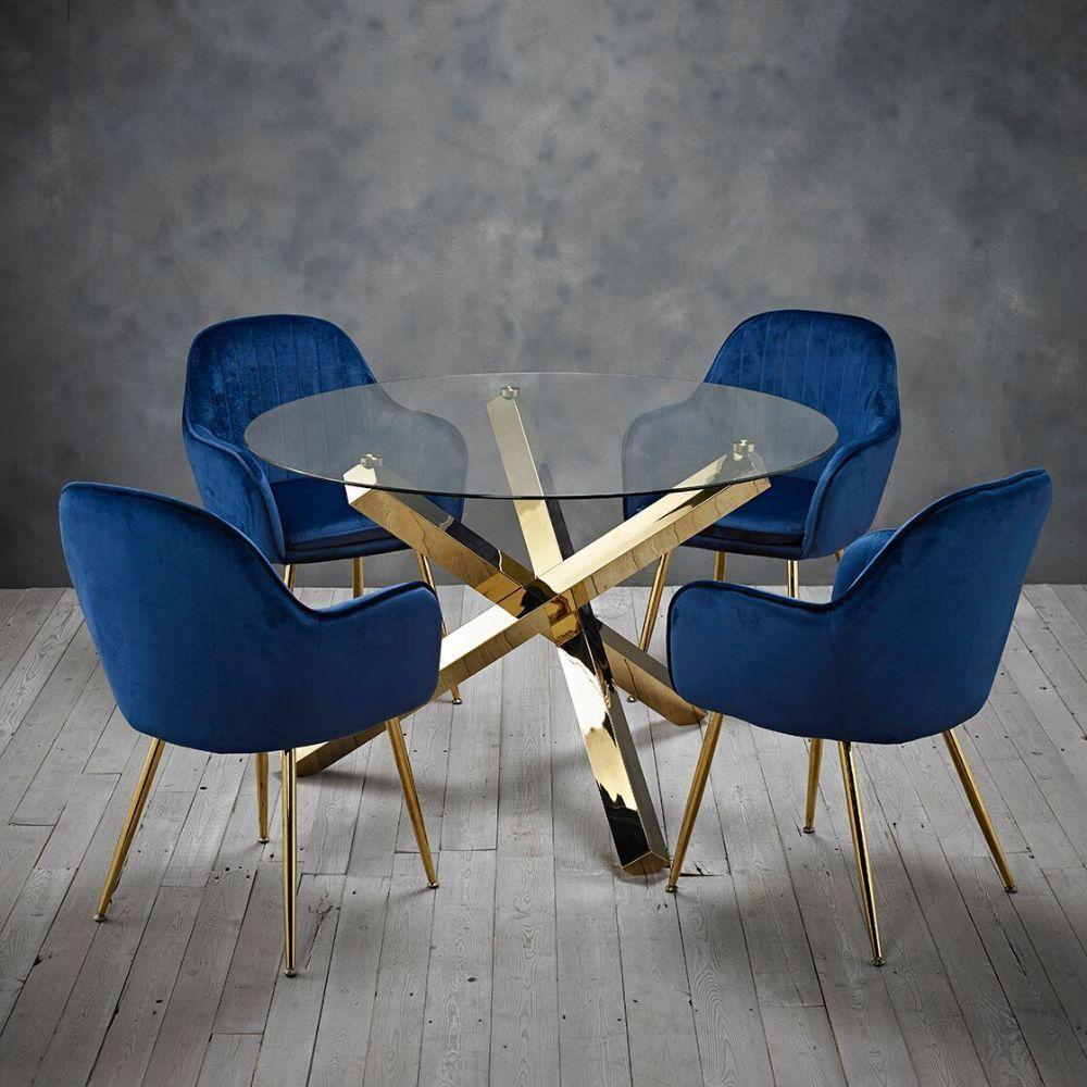 Maison Gold Leg Round Glass Dining Table & Four Royal Blue Velvet