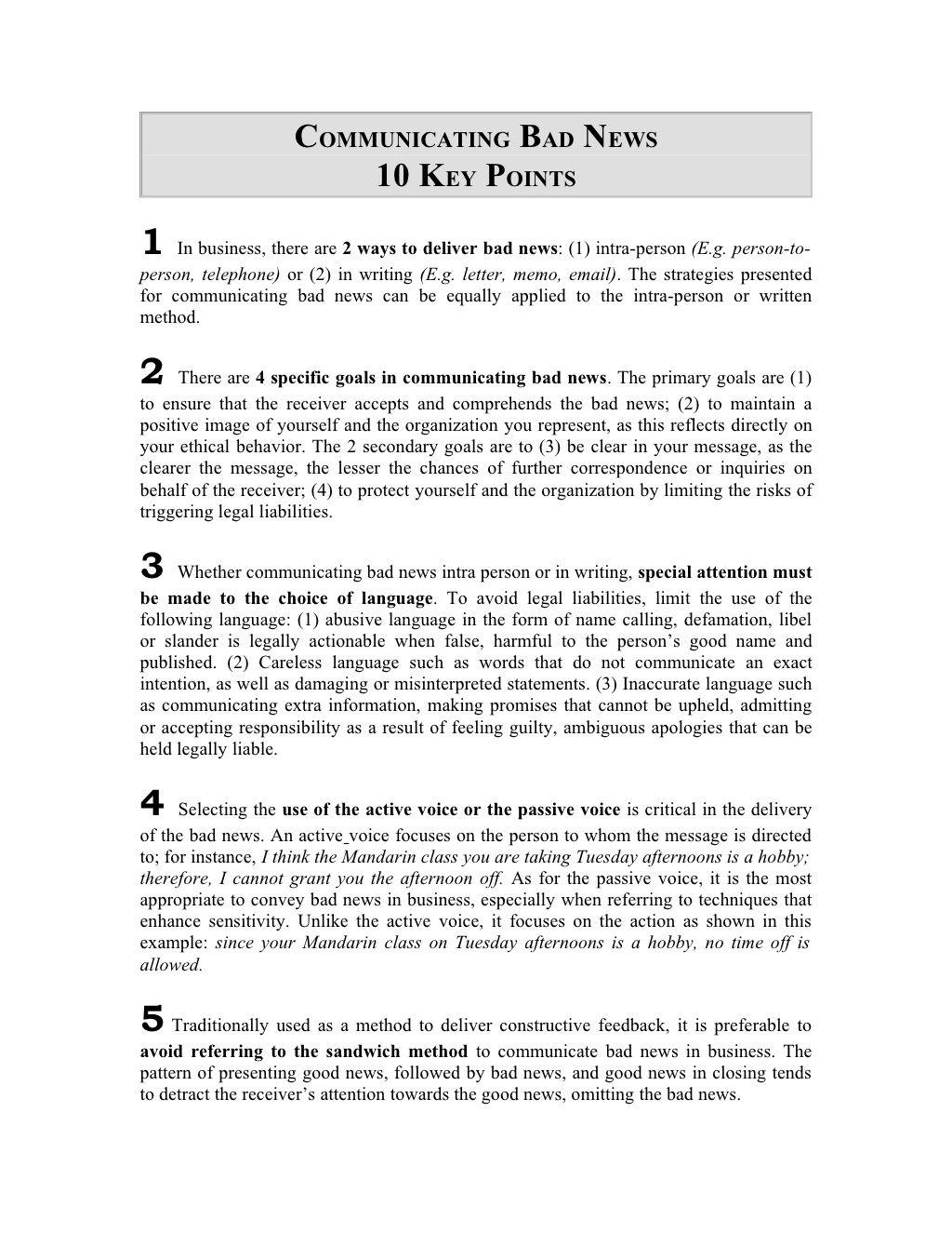 10 Key Points For Delivering Bad News By Sid Via Slideshare