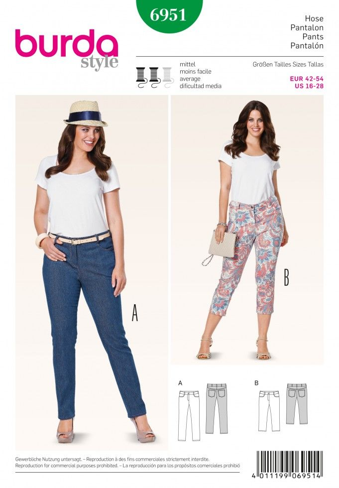 Burda Ladies Plus Sizes Sewing Pattern 6951 - Trouser Pants & Jeans ...