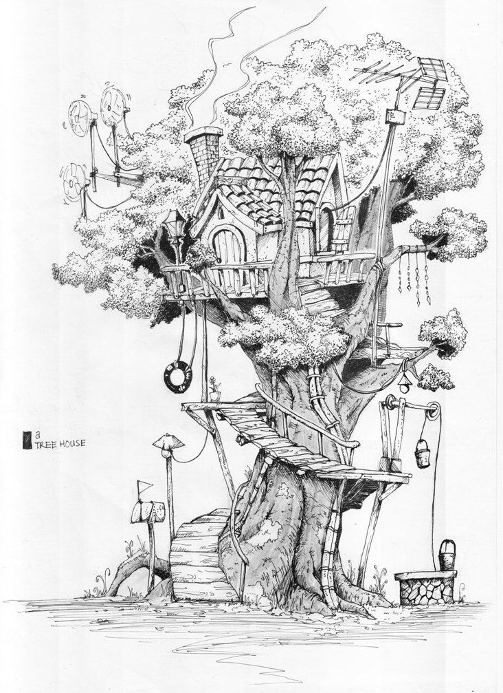 Inside House Drawing: Tree House By Rifknight On DeviantArt In 2019