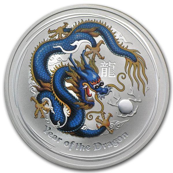 2012 1 oz Australian Pure Silver Lunar Dragon Colorized BLUE YELLOW SALE