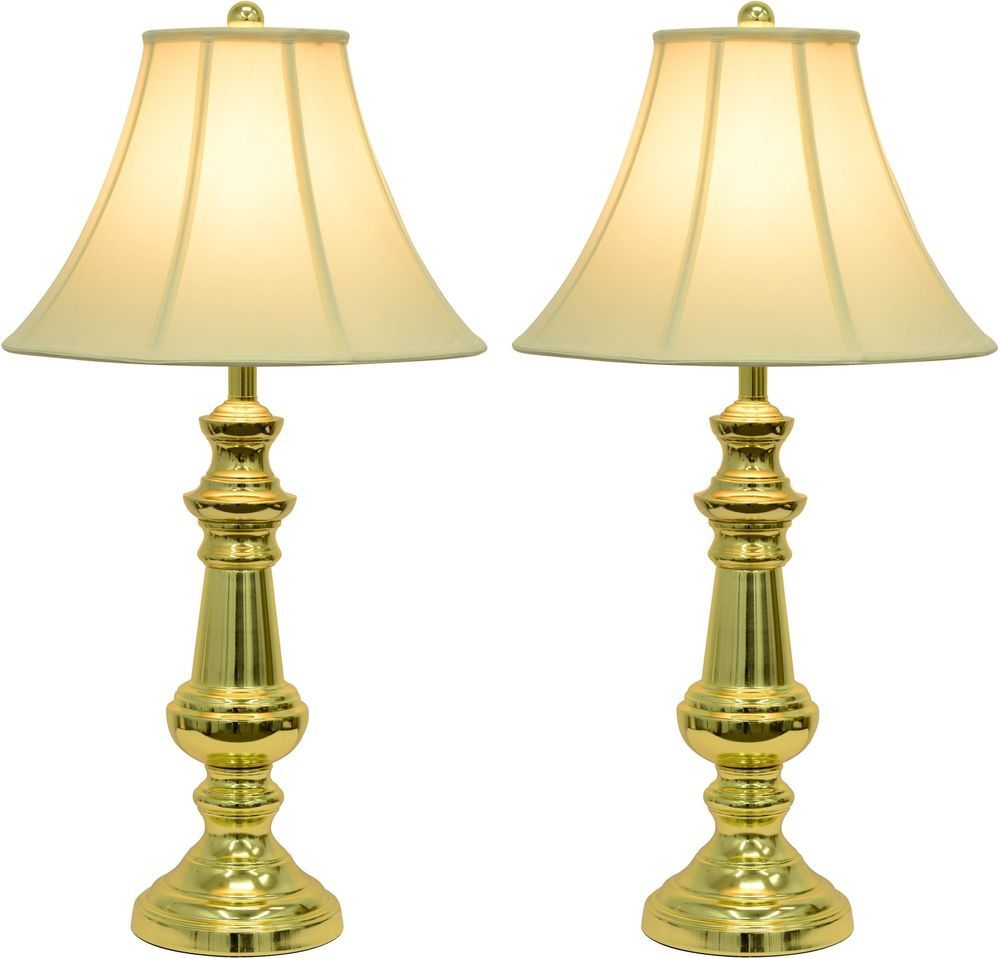 Traditional Table Lamps Touch Control Polished Brass Faux Fabric Shade 2 Set Touch Table Lamps Decor Therapy Gold Table Lamp