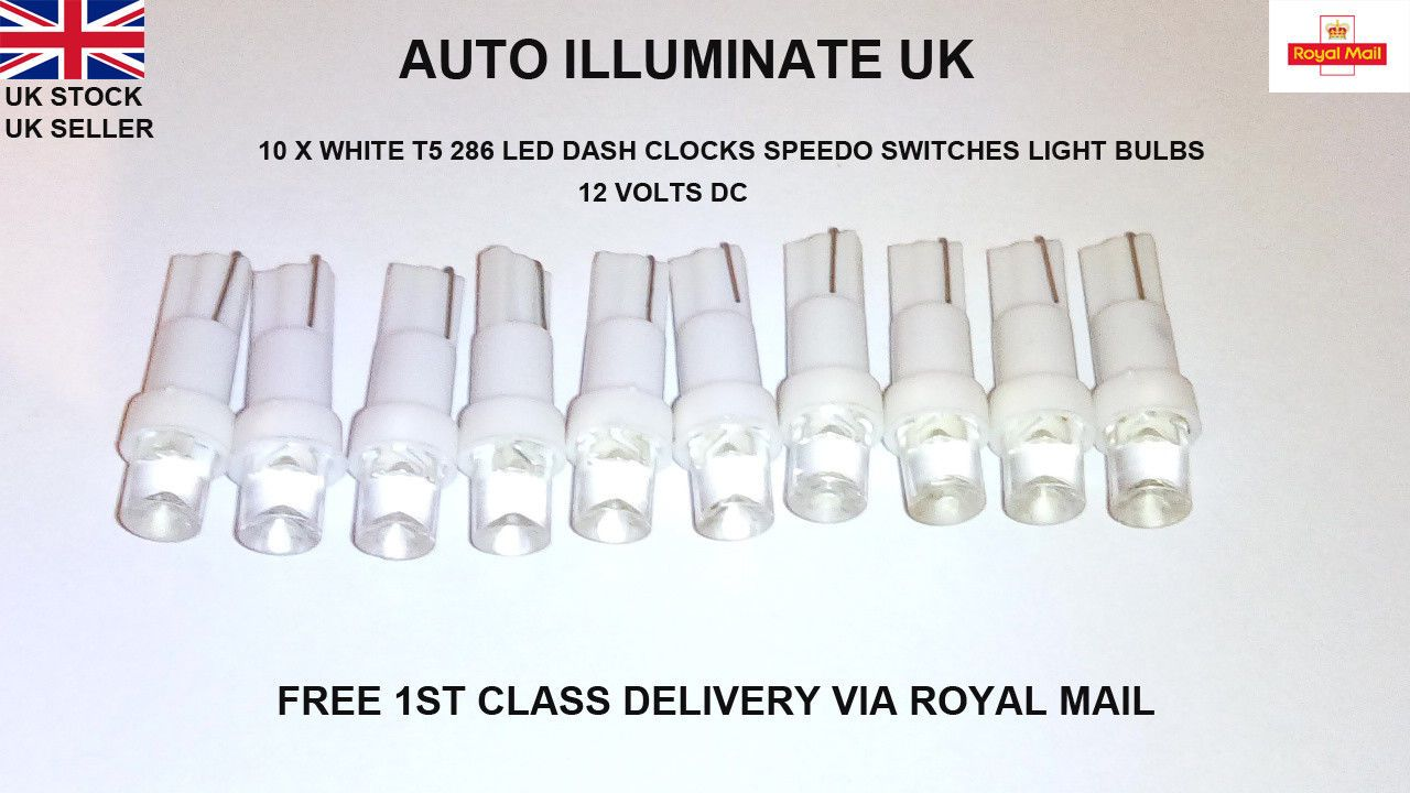 Details About 10x T5 286 White Led Wedge Car Conversion Clock Dashboard Speedo Lamp Light Bulb Lamp Light Bulb Light Bulb