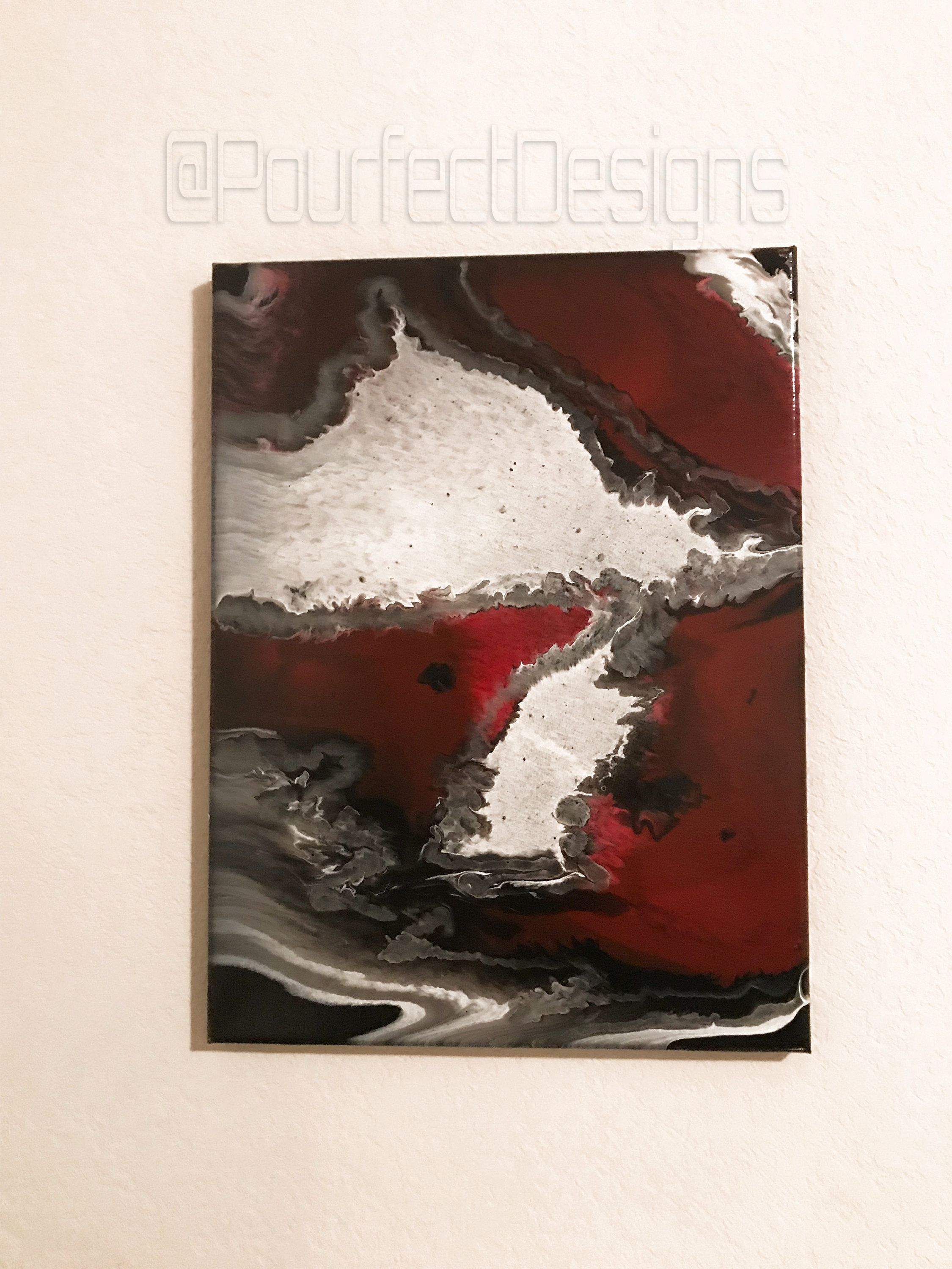 Acrylic Pour Painting On 12x16 Inch Canvas With A Mixture Of Red White Black And Silver Painting Pour Painting Acrylic Pouring