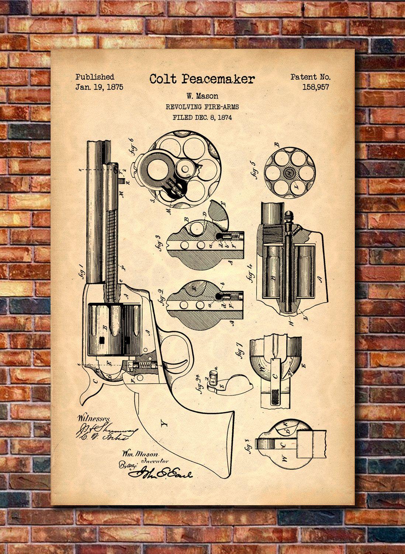Colt Peacemaker Patent Print Art 1875 | Patents! | Patent prints