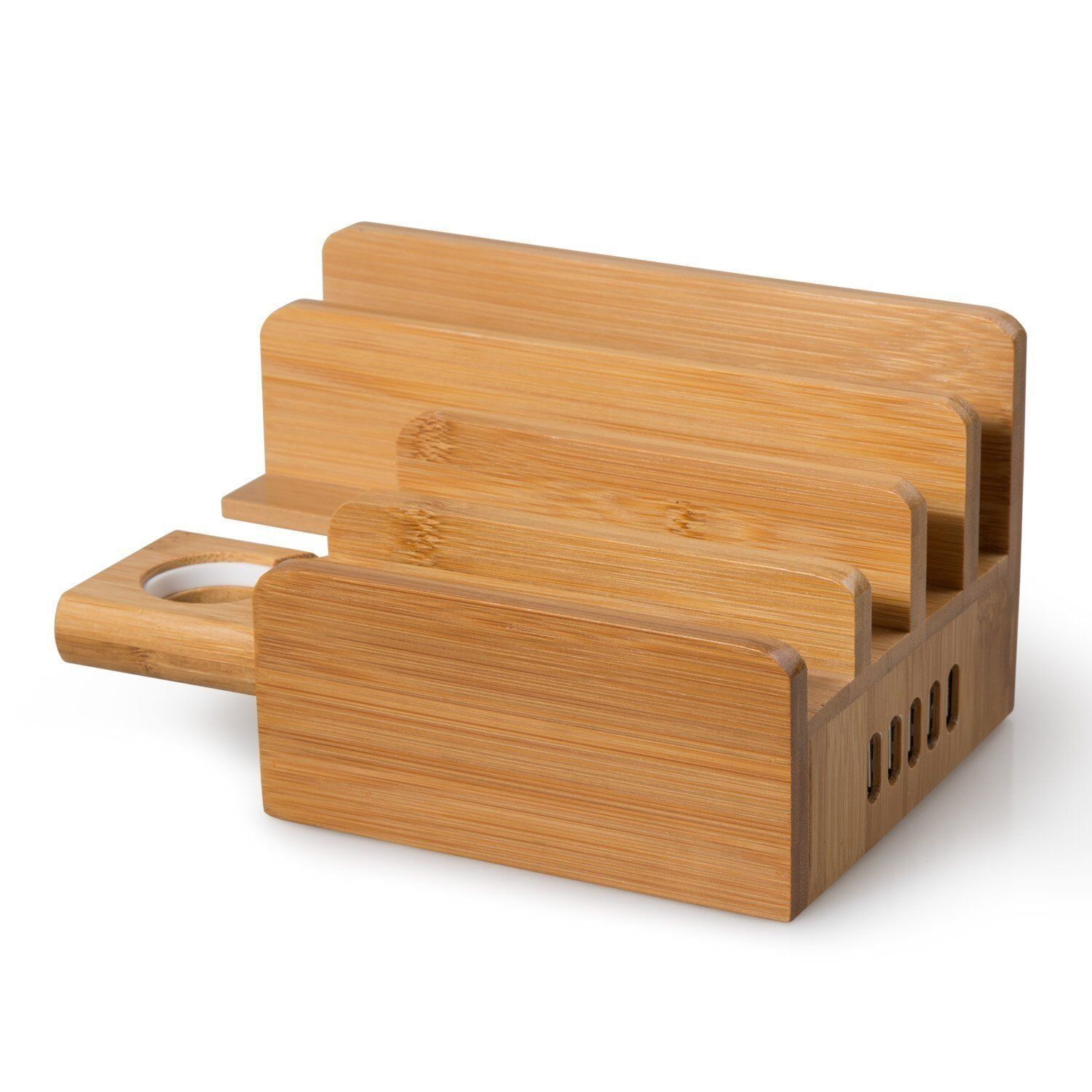 Ereach w port usb bamboo charging dock station with apple watch