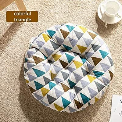 "Cheeseland Cheoalfa19.7round Pillow Floor Pillow Japanese Futon Chair Pad Tatami Floor Cushion Yellow Cushion for Living Room Balcony Outdoor Children's Play Area (Colorful Trangle, L-19.7"")"