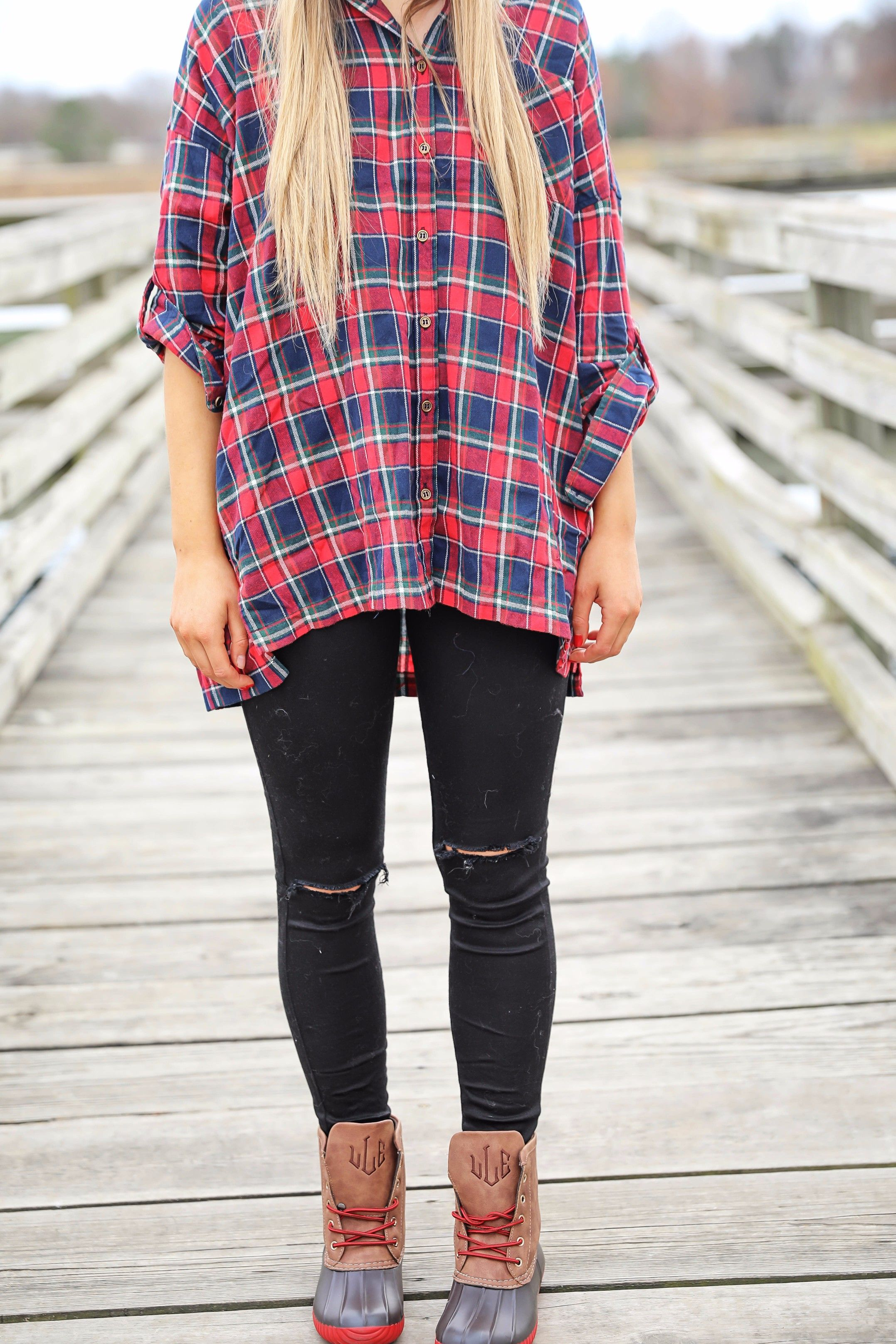 Cute flannel outfit with beanie and monogramed duck boots ...