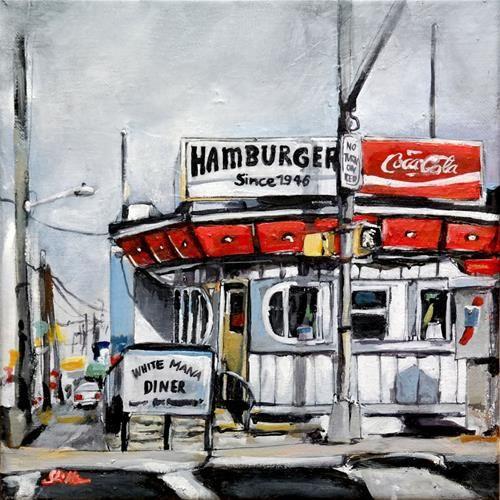 """Daily Paintworks - """"1672 American Diner"""" - Original Fine Art for Sale - © Dietmar Stiller"""