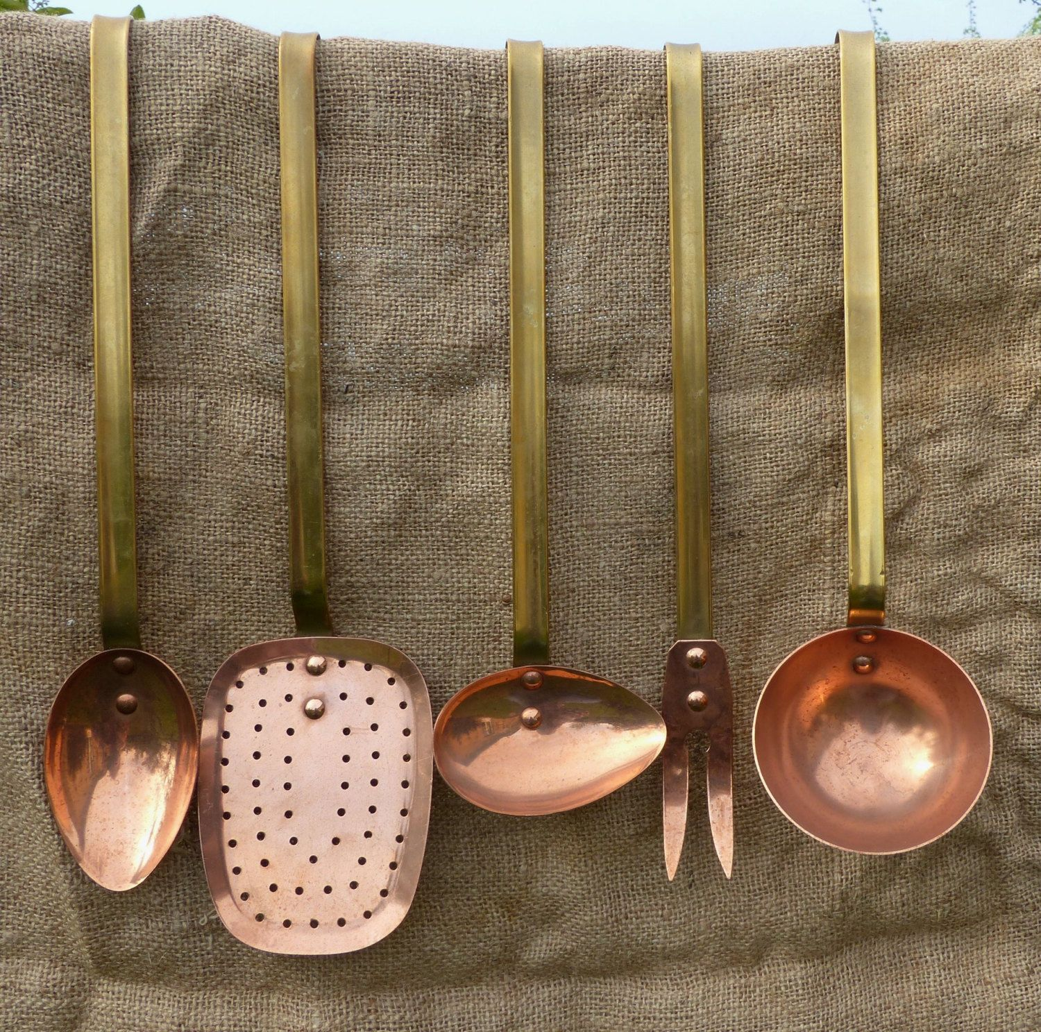 French Vintage Copper and Brass Kitchen Utensils. Set of 5. by JadisInTimesPast on Etsy