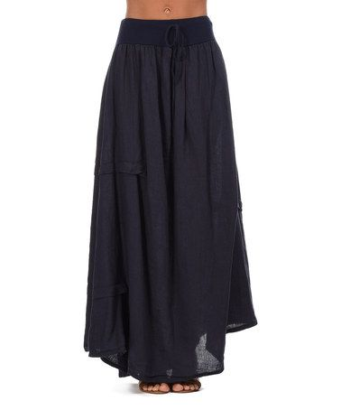 Look what I found on #zulily! Navy Blue Maurine Linen Maxi Skirt - Women #zulilyfinds