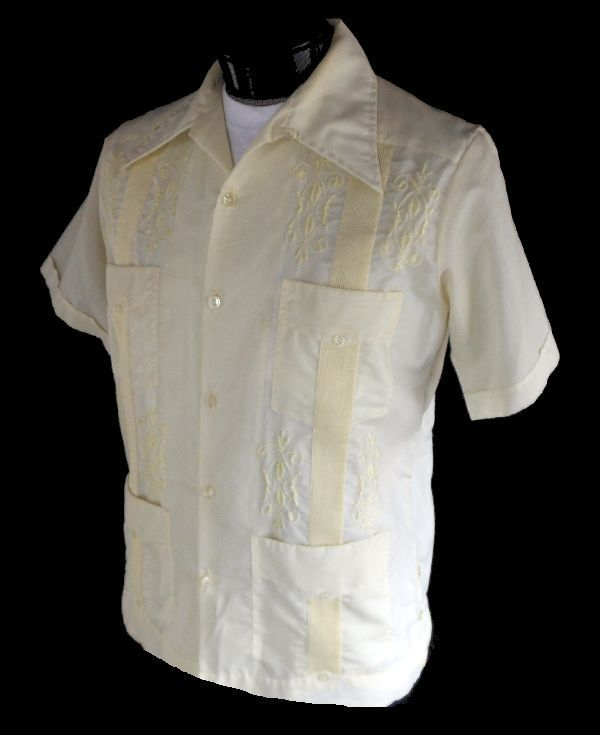 0993886cb5 Vintage 60s Mens Guayabera Shirt - 1960s Pintucked Mexican Wedding Shirt -  Yellow Cotton - Loop Collar - Size L Large