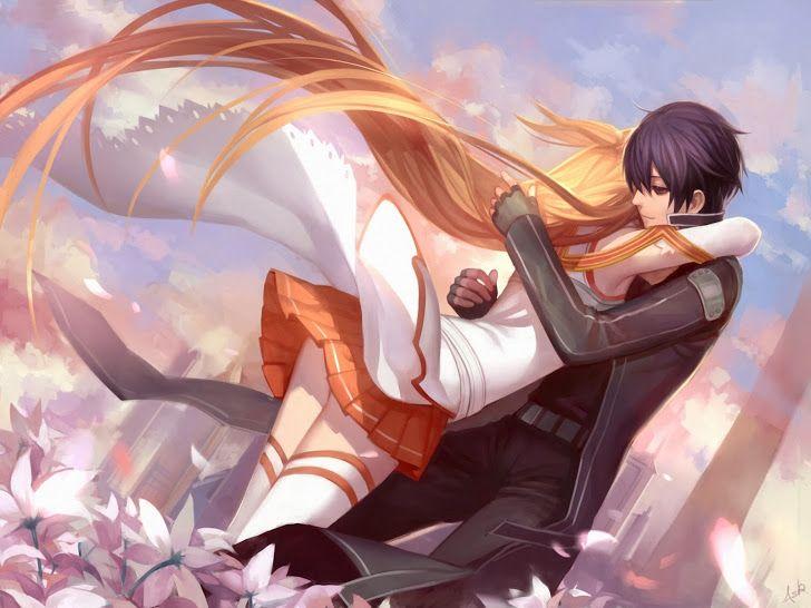 Asuna Kirito Hug Anime Couple 9f Hd Wallpaper Sword Art Online Otaku Manga