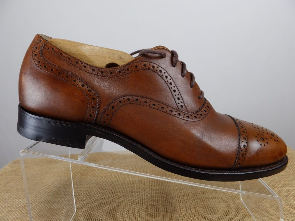 7efccaf2ebfdb BROOKS BROTHERS 346 Brogue Cap Toe Burnish Brown Oxford Leather Shoe Men 9  D M #BrooksBrothers #Oxfords