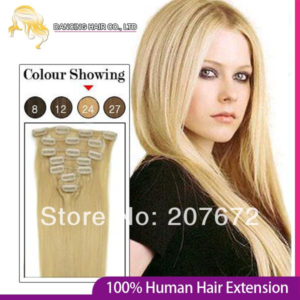 2014 New 15 18 20 22 24inch Natural Real Remy Virgin Human Hair Clips in Hair Extension Femal Love #24 Blonde colour