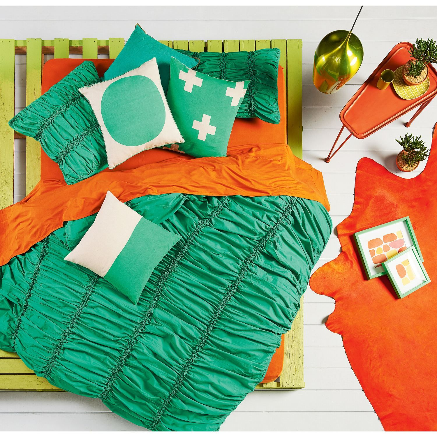 Emerald Gathered Quilt Cover | Domayne Online Store | Pallet ... : gathered quilt - Adamdwight.com