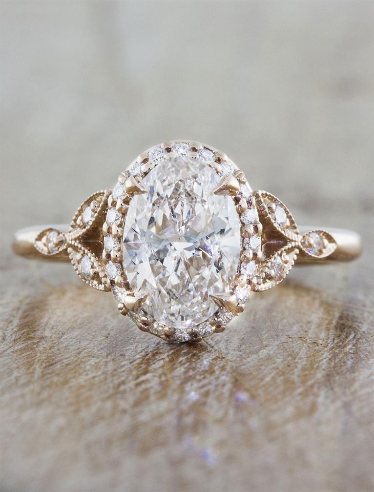 Rachael .93ct Diamond Wedding rings vintage, Rose gold