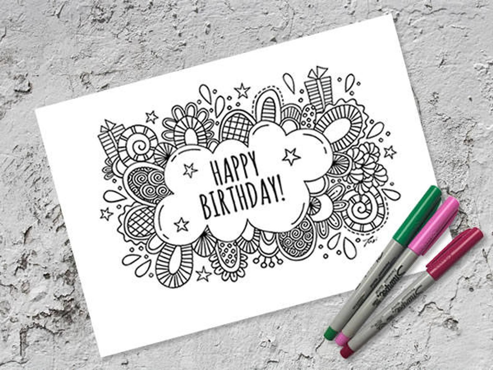 Happy Birthday Colouring Page Folded Card Instant Digital Download Original Doodle Design Happy Birthday Coloring Pages Birthday Coloring Pages Happy Birthday Drawings
