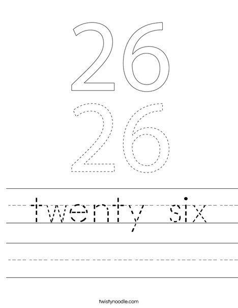 twenty six Worksheet - Twisty Noodle | Kindergarten math ...