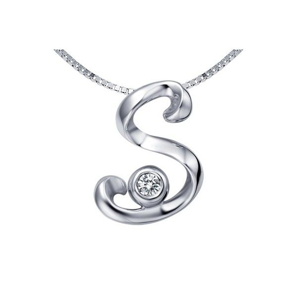 S initial alphabet diamond pendant on 10k white gold tiger s initial alphabet diamond pendant on 10k white gold mozeypictures Image collections