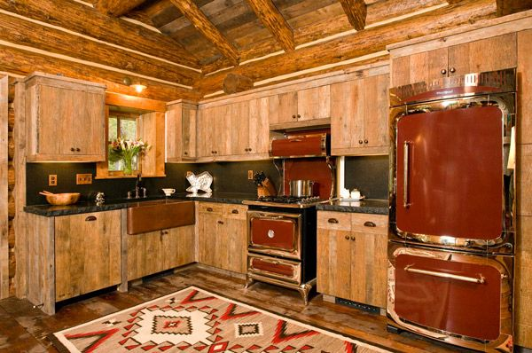 5 Rustic Red Kitchens Cowgirl Magazine Log Cabin Kitchens Rustic Cabin Kitchens Rustic Kitchen Design