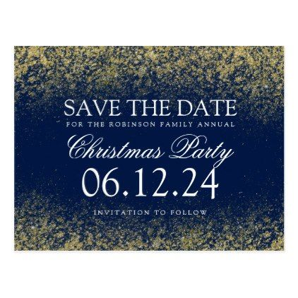 #savethedate #postcards - #Christmas Save The Date Gold Glitter Dust Navy Blu Postcard