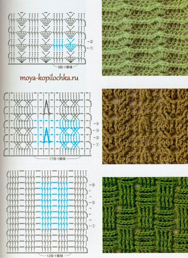 Colección de patrones y motivos, los de punto | puntos crochet ...