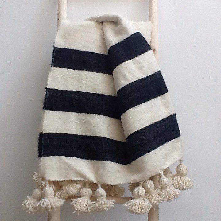 Pom Pom Moroccan blanket