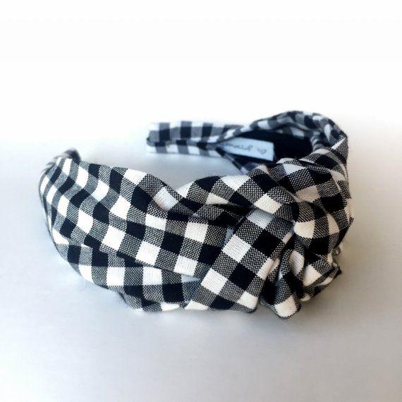 685dba20e559b Gingham top knot headband black and white gingham Top knot turban ...