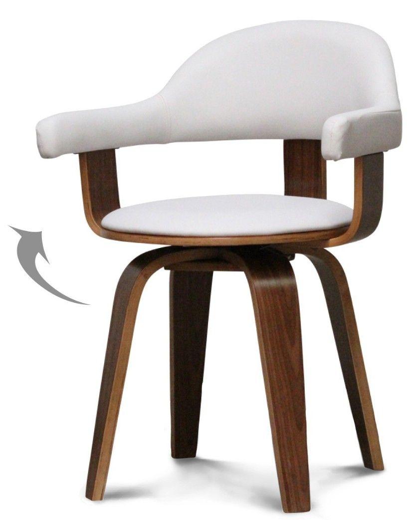 Chaise Pivotante Simili Blanc Et Bois Noyer Woff Met Afbeeldingen Sofa S