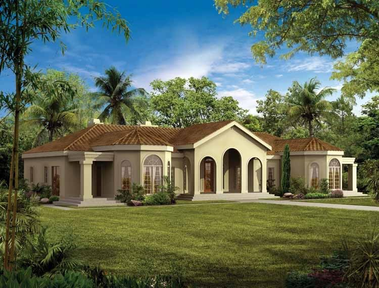 Mediterranean Style House Plan 4 Beds 3 Baths 2831 Sq Ft Plan 72 161 Mediterranean House Plans Mediterranean Style House Plans Mediterranean House Plan